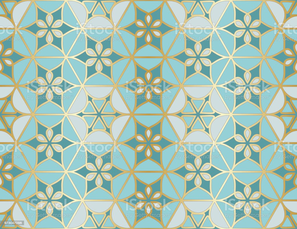 Arabic seamless pattern. Traditional Islamic mosque window with gold grid mosaic vector art illustration