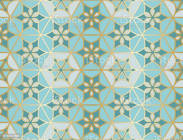 Arabic Seamless Pattern Traditional Islamic Mosque Window With Gold Grid Mosaic Stock Illustration - Download Image Now