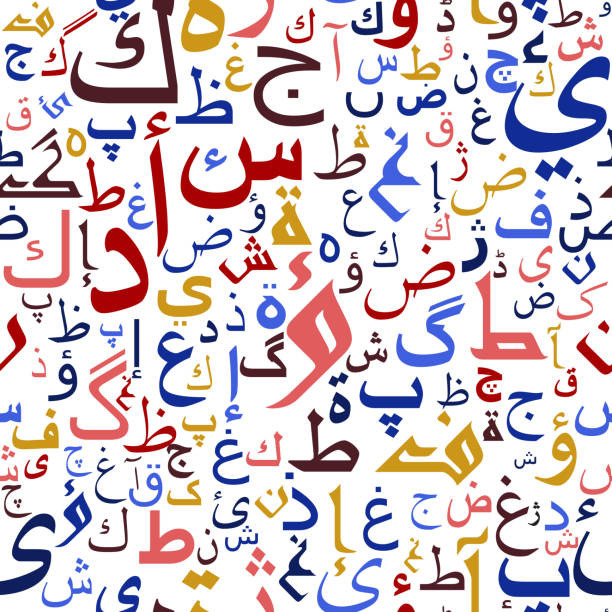 illustrazioni stock, clip art, cartoni animati e icone di tendenza di arabo seamless pattern di script - arabia
