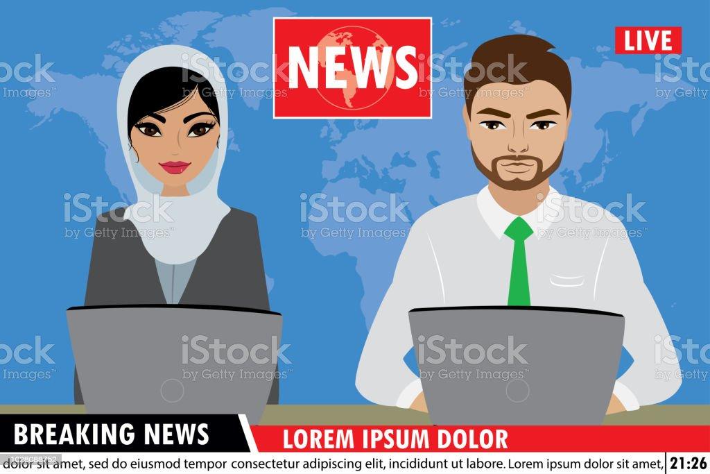 Arabic Tv News Anchors Reporting Breaking News Stock Illustration