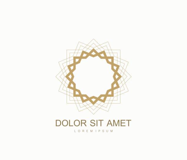 arabische vektor-design-vorlage-stil. abstrakte islamischen symbol. emblem für luxusprodukte, boutiquen, schmuck, orientalische kosmetik, hotels, restaurants, geschäfte und kaufhäuser - kirchenschmuck stock-grafiken, -clipart, -cartoons und -symbole