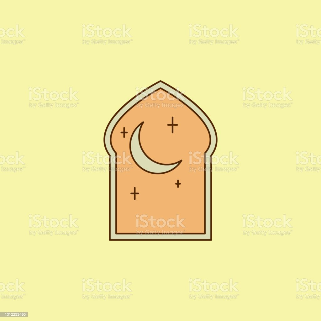 arabic window colored field outline icon. Element of Arabian culture icon for mobile concept and web apps. Field outline arabic window icon can used for web and mobile vector art illustration