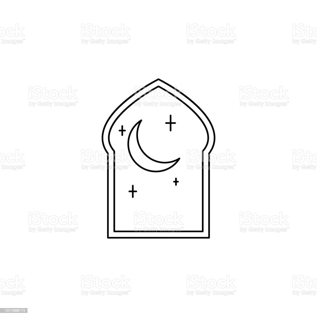 arabic window icon. Element of Arab culture icon for mobile concept and web apps. Thin line  icon for website design and development, app development. Premium icon vector art illustration