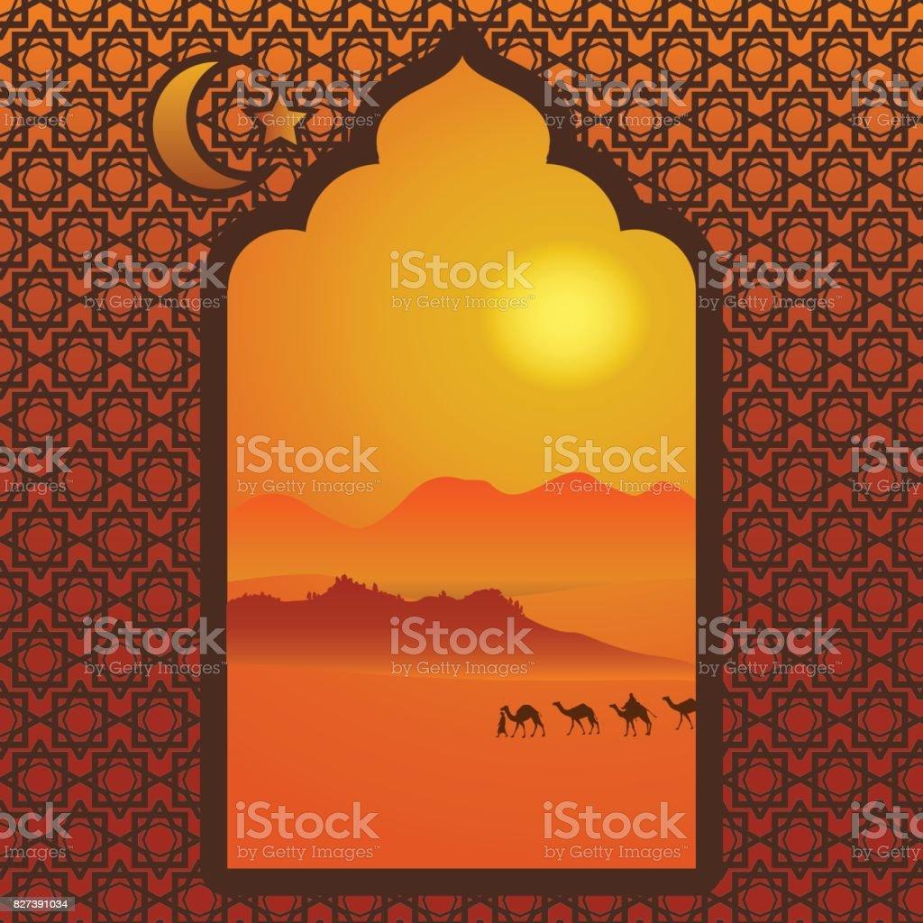 Arabic window vector art illustration