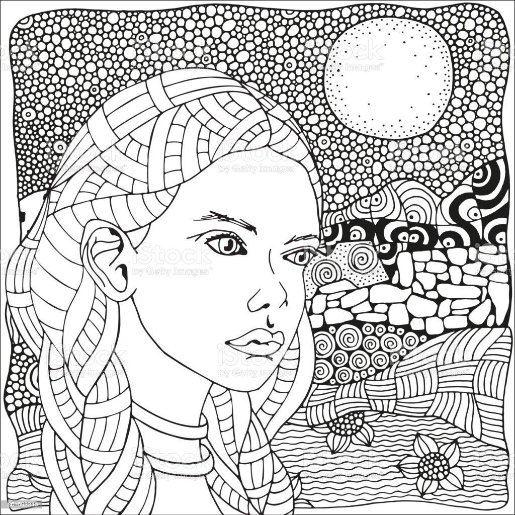 Ilustración de Mujer árabe Página De Libro Para Colorear Para ...
