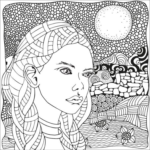 arabische frau. malvorlagen buch für erwachsene. schwarz und weiß. doodle, stil. doodle, boho, art-stil. schwarz / weiß - landschaftstattoo stock-grafiken, -clipart, -cartoons und -symbole