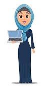 Arabic woman holding laptop. Cute businesswoman cartoon character. Stock vector