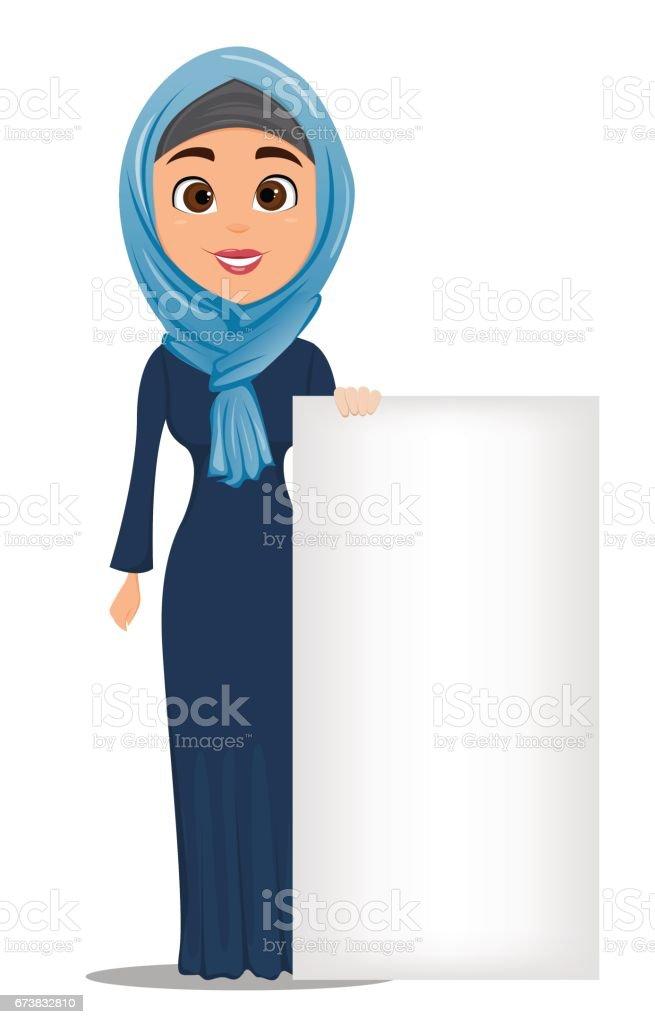 Arabe femme debout près de grand panneau blanc. Personnage de dessin animé mignon femme d'affaires. Vector stock arabe femme debout près de grand panneau blanc personnage de dessin animé mignon femme daffaires vector stock – cliparts vectoriels et plus d'images de adulte libre de droits
