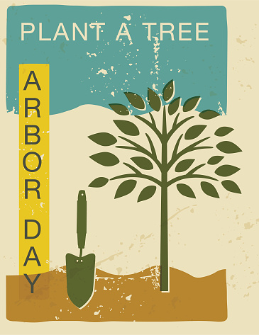 Arbor Day Environment Cards In Vintage Style