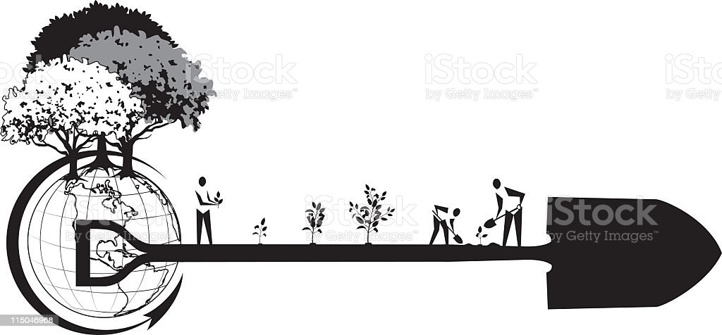 Arbor Day People Planting Trees royalty-free stock vector art