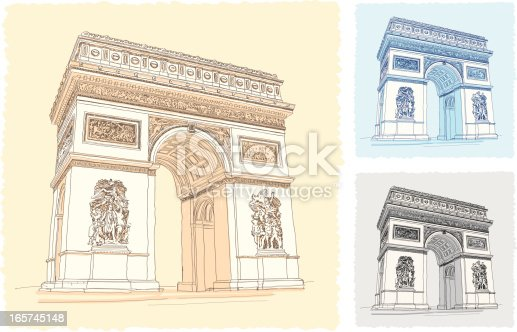 Illustration of The Arc de Triomphe in sketch style.