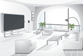 Vector illustration of luxury livingroom with arc window. All layers separated. Easy to edit.