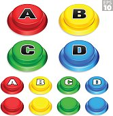 Arcade Buttons In Red, Yellow, Green, Blue For Retro Games.
