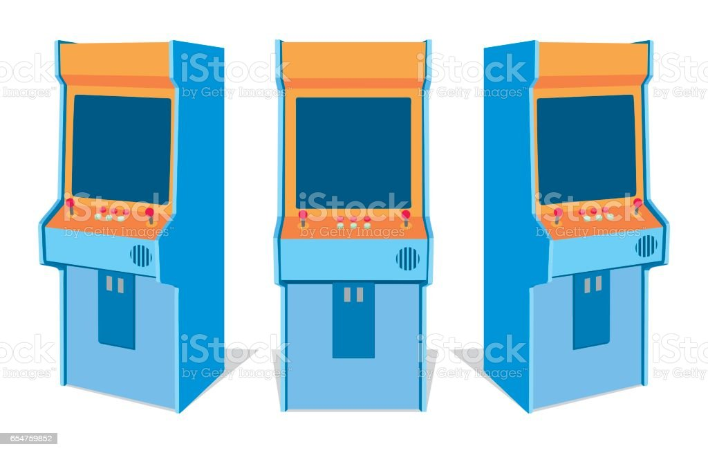 Arcade game machine on white background vector art illustration