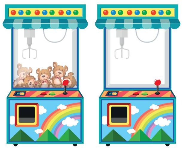 arcade game machine with dolls - lalka stock illustrations