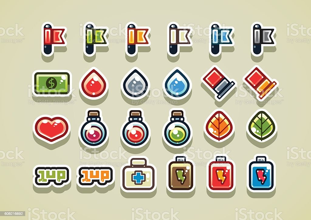 2d Arcade Items For Video Game stock vector art 606216892 ...
