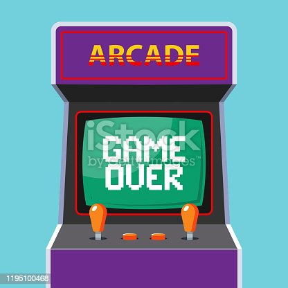 istock arcade machine in the background. green monitor with the word game over 1195100468
