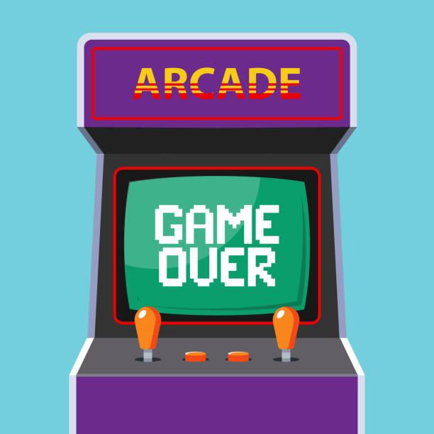 배경에 아케이드 기계. 단어 게임 이상 녹색 모니터 - 토큰 stock illustrations