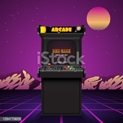 istock Arcade machine screen, retro vector background 1254770023