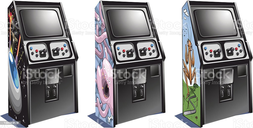 Arcade machines with action games (vector) vector art illustration