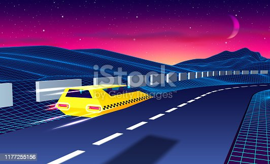 Arcade space taxi or cab flying over the road in blue corridor or canyon landscape with 3D mountains, 80s style synthwave or retrowave illustration
