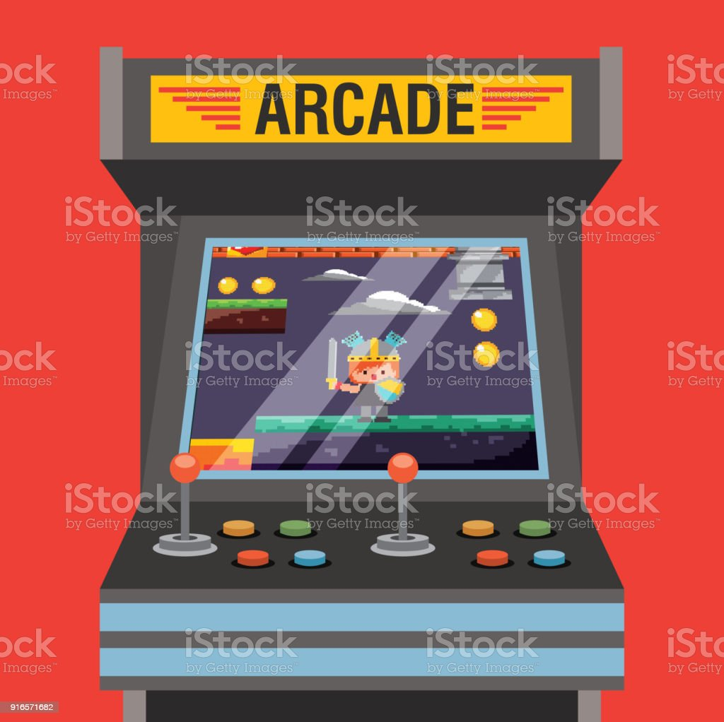 arcade video game machine with level knight medieval on screen vector art illustration