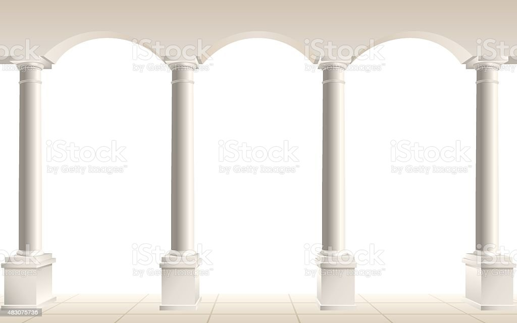 arch and columns on white vector art illustration