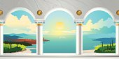 Arch Gallery & Landscape View. Vector Illustration.