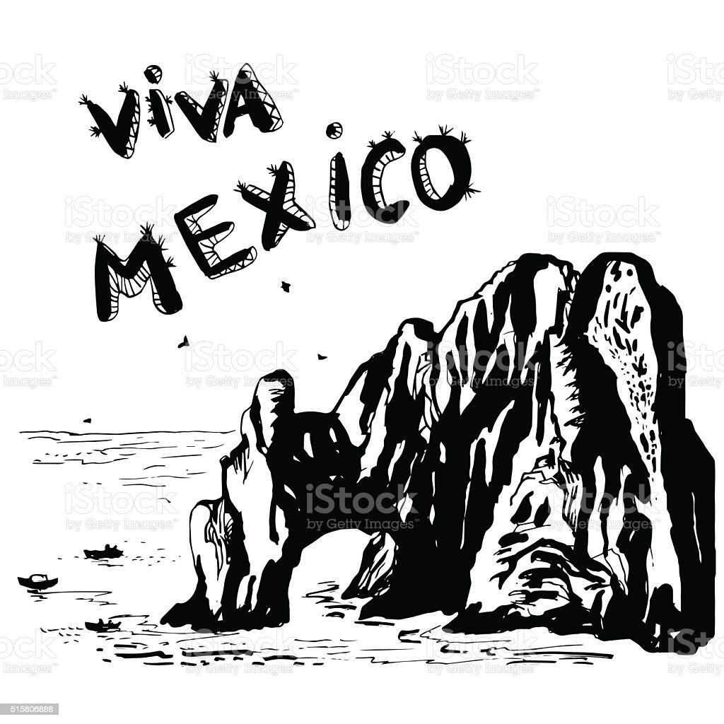 Arch of Cabo San Lucas - MEXICO vector vector art illustration