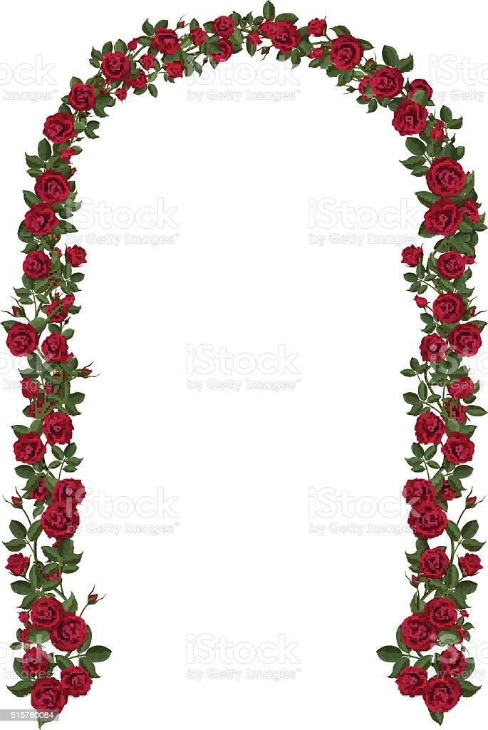 Arche de l'escalade de roses rouges - Illustration vectorielle