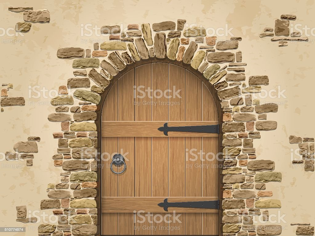 Arch of stone with closed wooden door vector art illustration