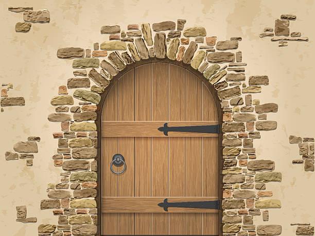 bildbanksillustrationer, clip art samt tecknat material och ikoner med arch of stone with closed wooden door - wood stone
