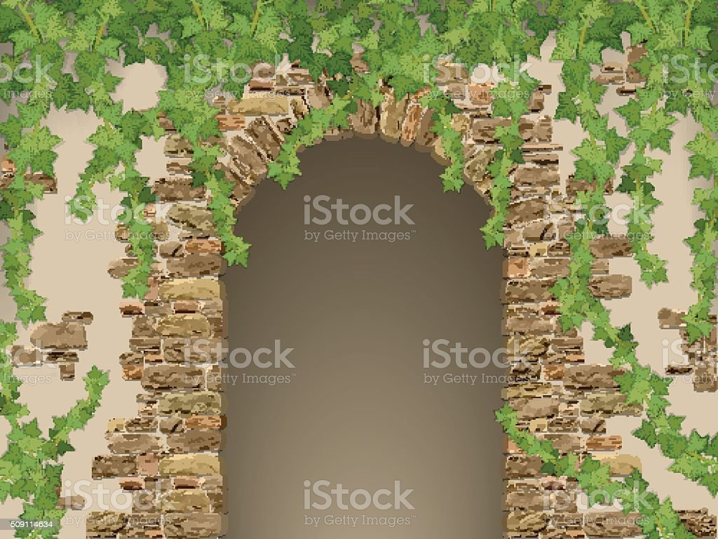 Arch of stones and hanging ivy vector art illustration