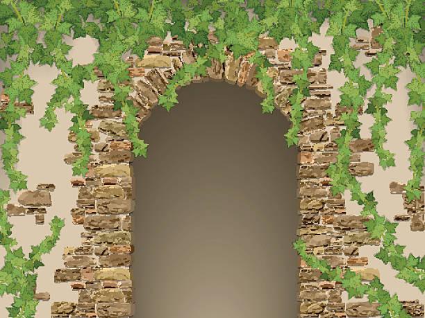 ilustrações de stock, clip art, desenhos animados e ícones de arco de pedras e pendurar hera - ivy building