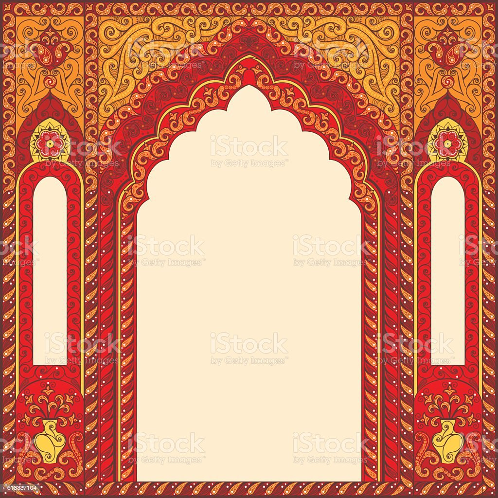 Arch of style with Arabic traditional ornaments vector art illustration