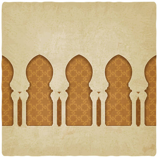 arch on background with arabic pattern vector art illustration