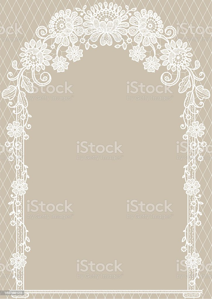 Arch. White Lace. Beige Backgrounds. vector art illustration