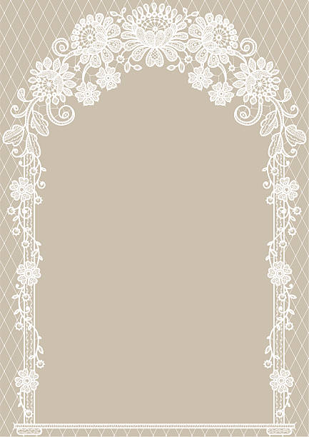 Arch. Dentelle blanche. Beige arrière-plans. - Illustration vectorielle