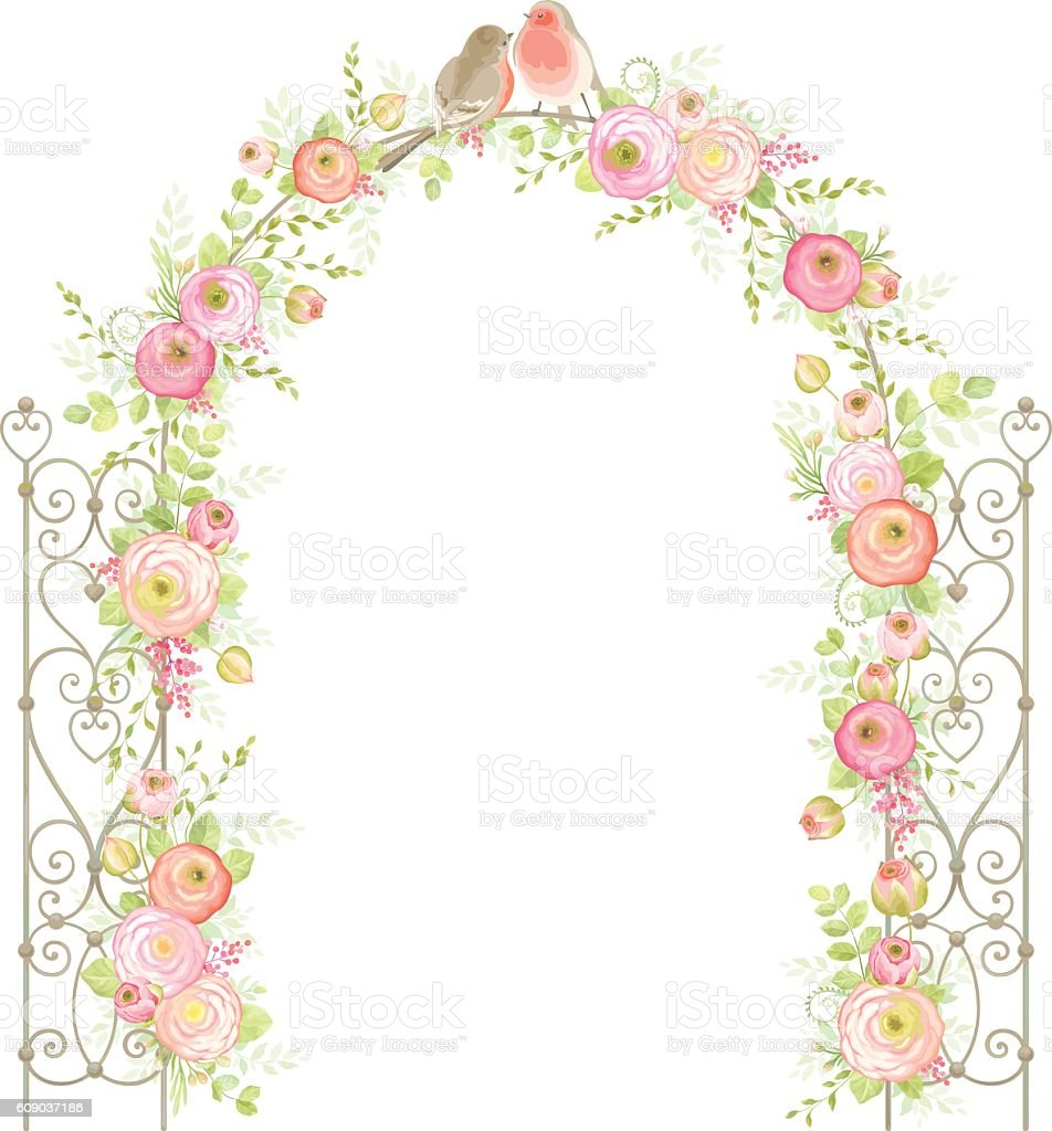 Arch with flowers, leaves and birds. Floral design. vector art illustration