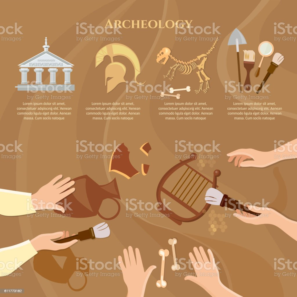 Archaeological excavation ancient history vector art illustration
