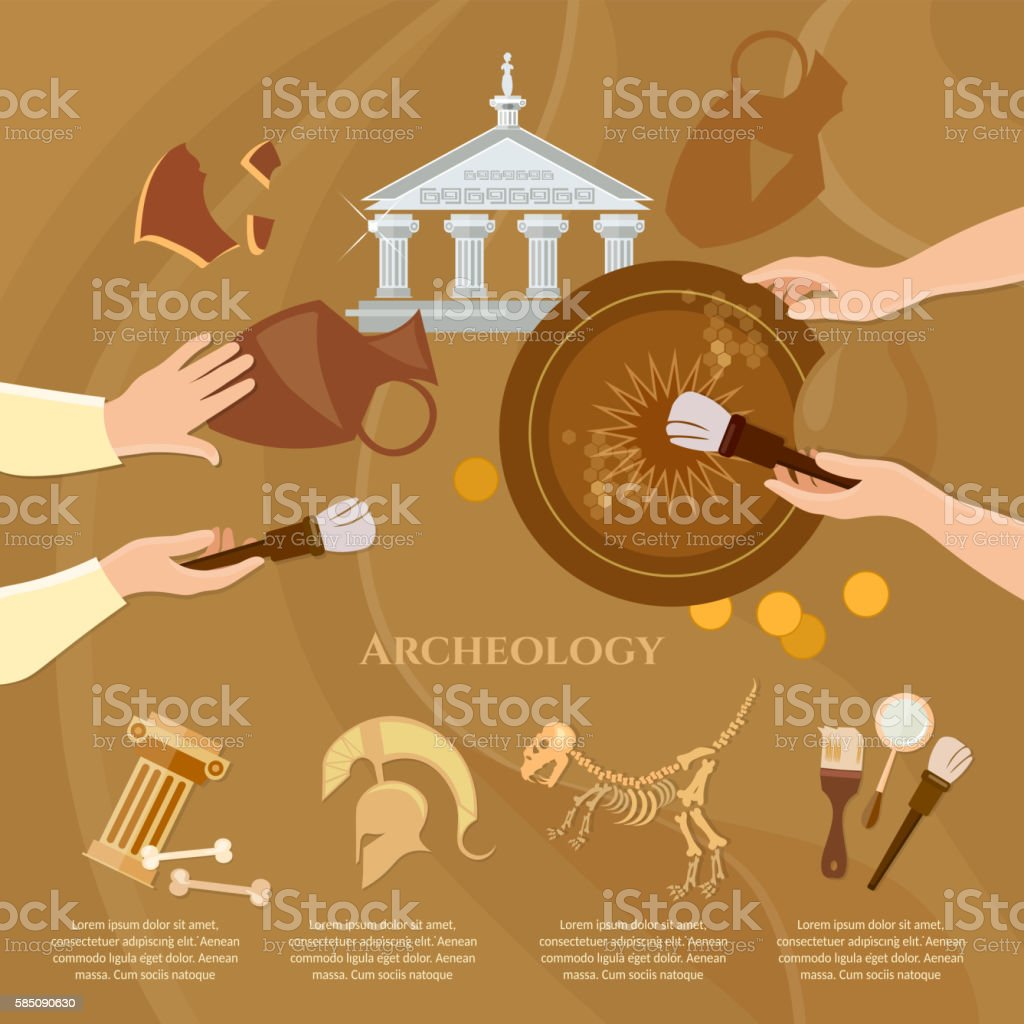 Archaeological excavation vector art illustration