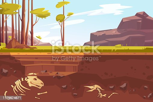 Archaeological excavations, cartoon vector illustration. Natural landscape with trees, mountains, green grass and dug pit. Underground soil with fossils, dinosaur skeleton in them, cross section