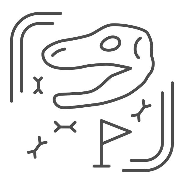 Archaeological excavations thin line icon, Paleontology concept, Excavated fossils and ancient bones sign on white background, excavation site with dinosaur skull icon in outline. Vector graphic. Archaeological excavations thin line icon, Paleontology concept, Excavated fossils and ancient bones sign on white background, excavation site with dinosaur skull icon in outline. Vector graphic ancient civilization stock illustrations