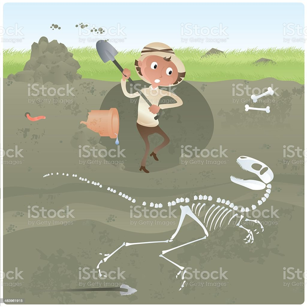Archaeologist Digging for Dinosaur Bones