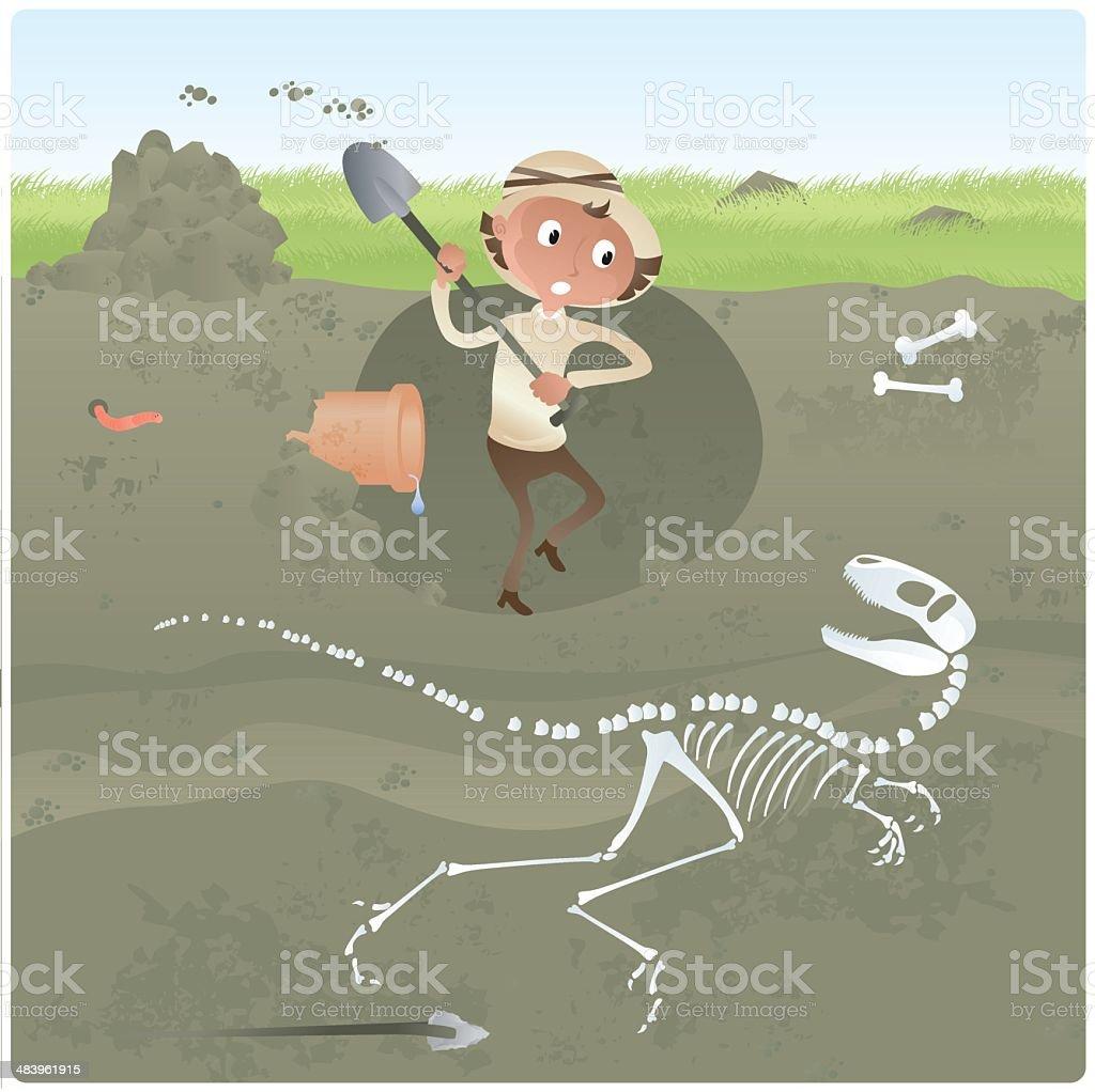 Archaeologist Digging for Dinosaur Bones vector art illustration