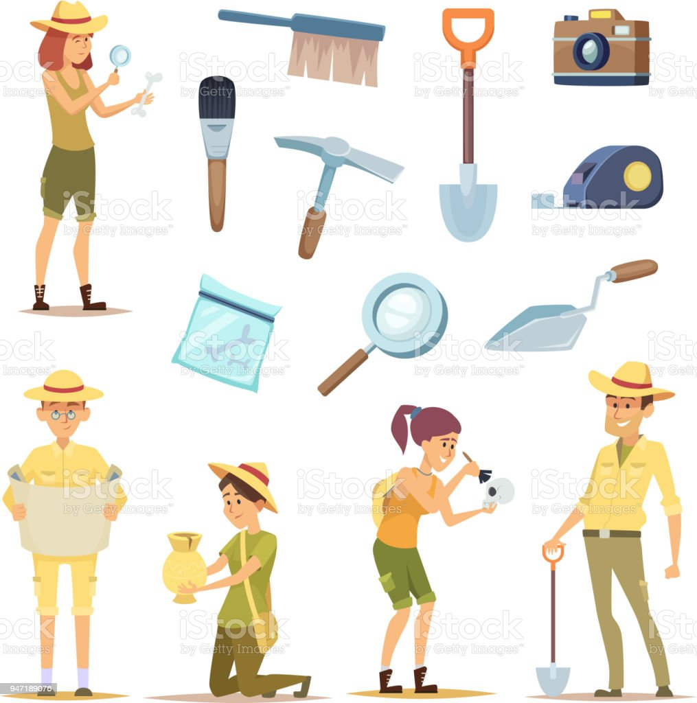 Archaeologists characters and various historical artifacts vector art illustration