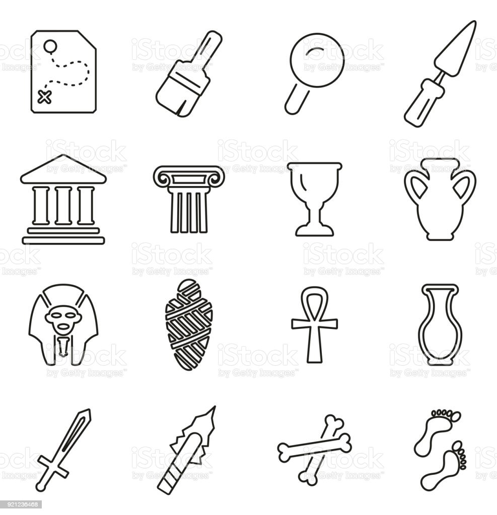 Archaeology Artifacts & Equipment Icons Thin Line Vector Illustration Set