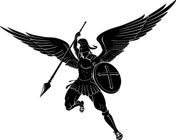 erzengel power strike - schutzengel stock-grafiken, -clipart, -cartoons und -symbole