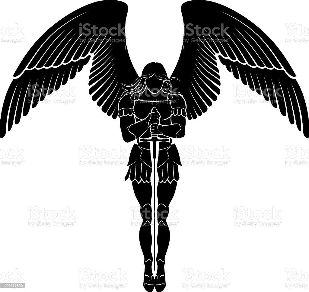 Espada del Arcángel meditar - ilustración de arte vectorial