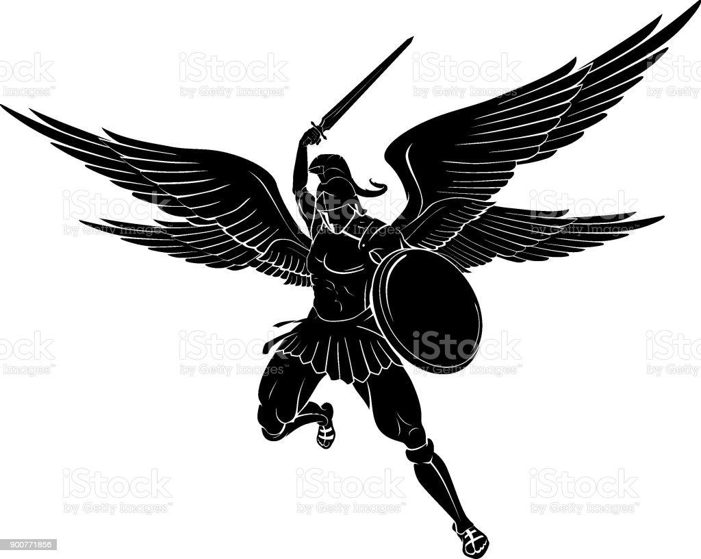 Ataque de espada de Arcángel - ilustración de arte vectorial